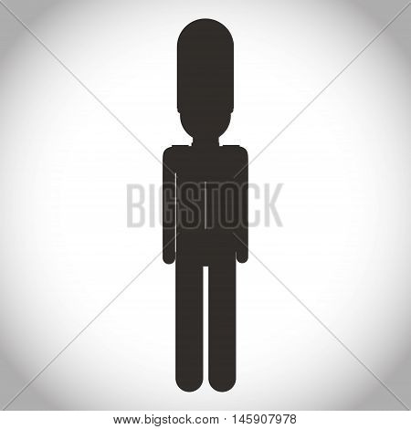 Silhouette of soldat icon. London england landmark and british theme. Isolated design. Vector illustration