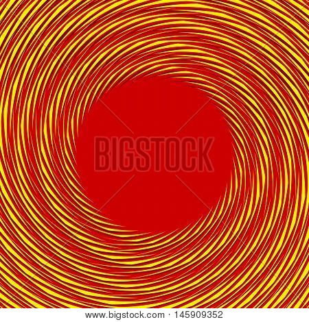 Red, Yellow Duotone Spiral Background. Circular Geometric Pattern