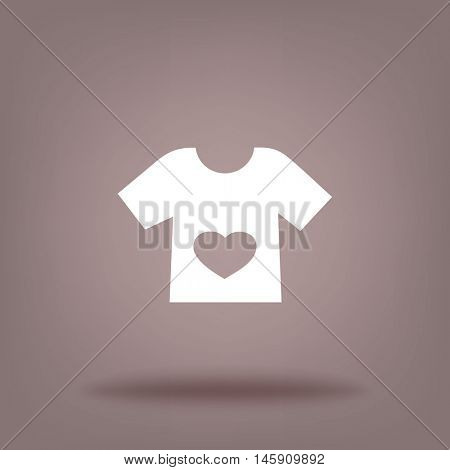 Flat icon. T-shirt with a heart.
