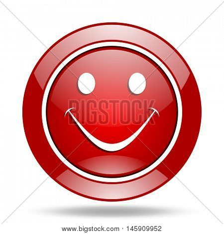smile round glossy red web icon
