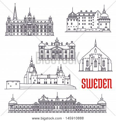 Historic architecture buildings of Sweden. Vector thin line icons of Vadstena Abbey, Malmo Town Hall, Kalmar, Orebro and Stromsholm Castle, Drottningholm Palace. Swedish showplaces symbols for souvenirs, postcards, decoration