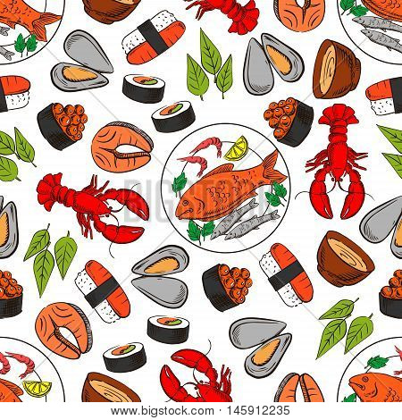 Seafood and fish dish seamless background. Wallpaper with vector pattern icons of lobster, shrimp, crab, salmon, caviar, steak, mussel, sushi, sauce, leaves Kitchen restaurant decoration tablecloth
