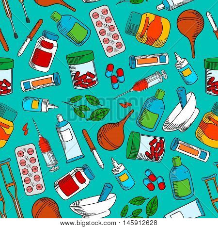 Medical treatments and medication icons. Seamless wallpaper background with vector pattern of cure and medicine supplies ointment, pill, dropper, syringe, solution, tube, herbal syrup, mortar, crutch