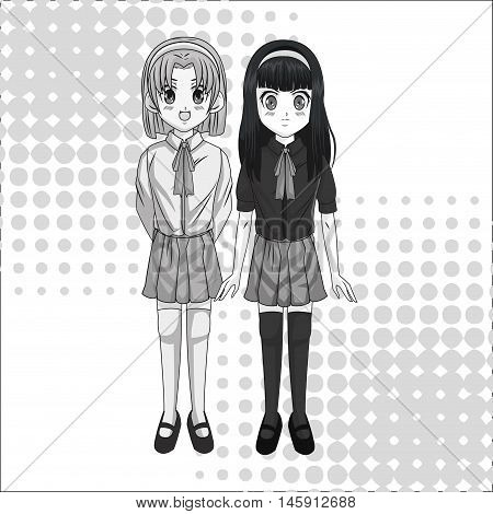 Cartoon and student girl. Anime manga and comic theme. Grey design. Pointed background. Vector illustration
