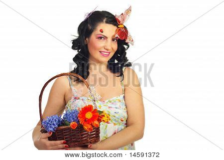 Lovely Spring Woman With Copy Space
