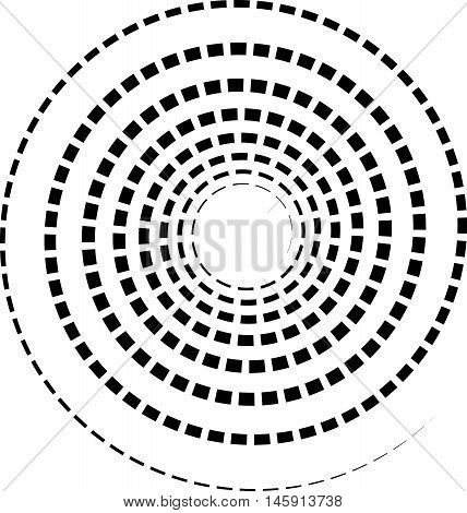 Black Spiral Element With Dashed / Segmented Line On White