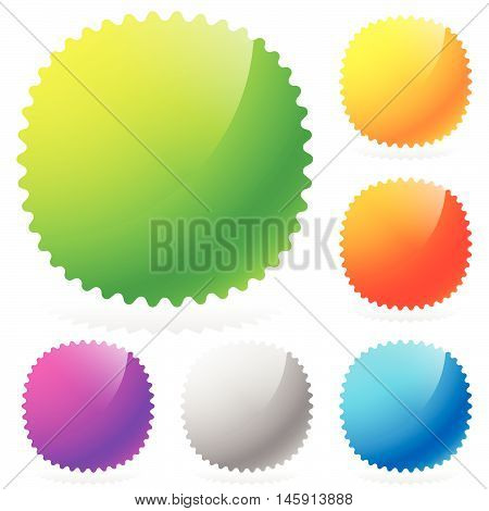 Glossy Starburst / Sunburst Design Elements In 6 Colors