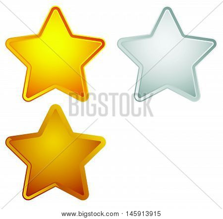 Gold, Silver, Bronze, Platinum Star Shapes Isolated On White