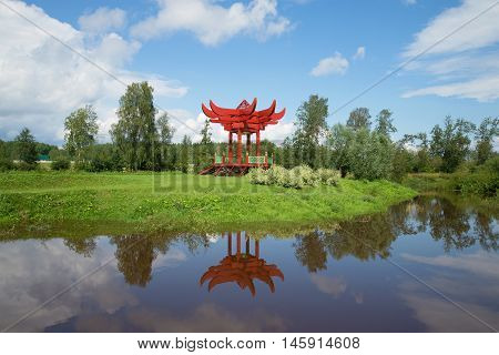 ANDRIANOVO, RUSSIA - JULY 31, 2016: Contemporary park gazebo in the japanese style on the banks of the river Tosna july afternoon. The Estate Marino. Leningrad region