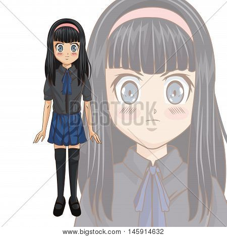 Cartoon and happy student girl . Anime manga and comic theme. Colorful and isolated design. Vector illustration