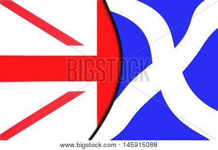 Scottish Exit Referendum Vote 01 - illustration showing Scottish saltire exiting Union Flag