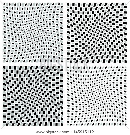 Distorted Spirally, Rotating Patterns With Squares And Circles