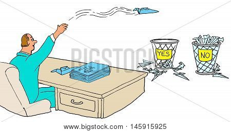Business illustration of businessman making decisions randomly, by tossing recommendations into a yes or no basket.