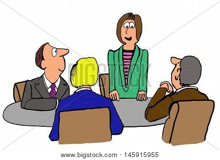 Business illustration showing a female leader standing and making a recommendation in the meeting.