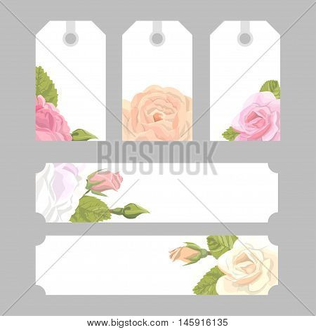 Romantic set vintage greeting card holiday to wedding, birthday, Valentines Day vector illustration, delicate flower wreath of roses, buds, leaves, with an inscription on a white background
