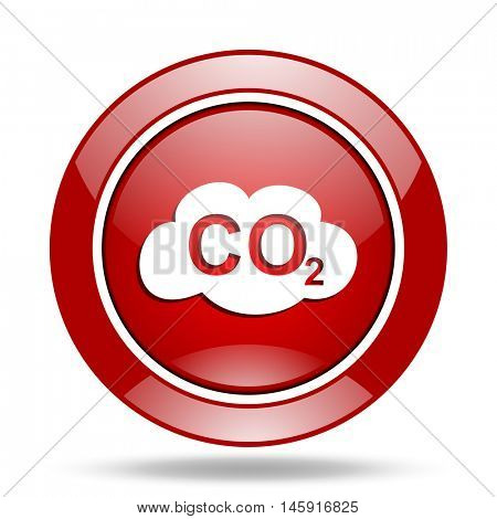 carbon dioxide round glossy red web icon
