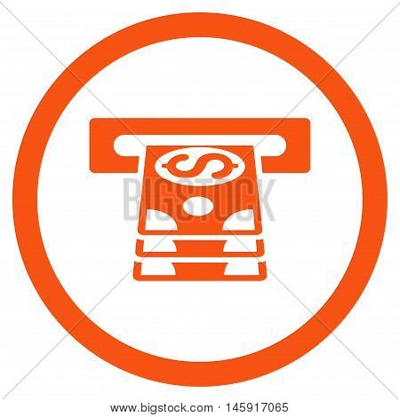 Bank Cashpoint rounded icon. Vector illustration style is flat iconic symbol, orange color, white background.