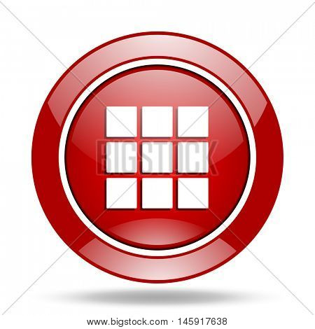 thumbnails grid round glossy red web icon