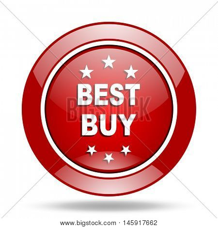 best buy round glossy red web icon