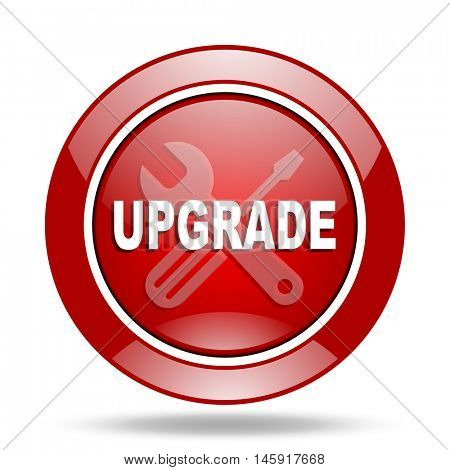 upgrade round glossy red web icon