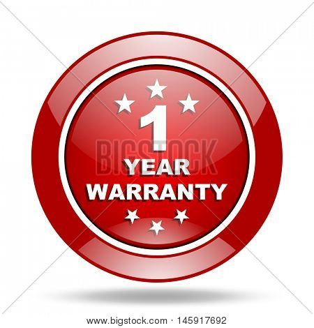 warranty guarantee 1 year round glossy red web icon