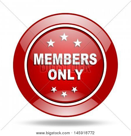 members only round glossy red web icon