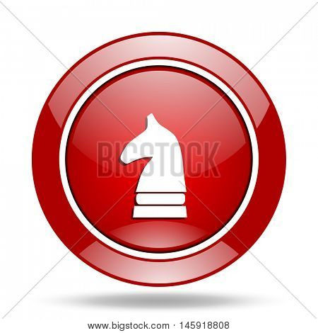 chess horse round glossy red web icon
