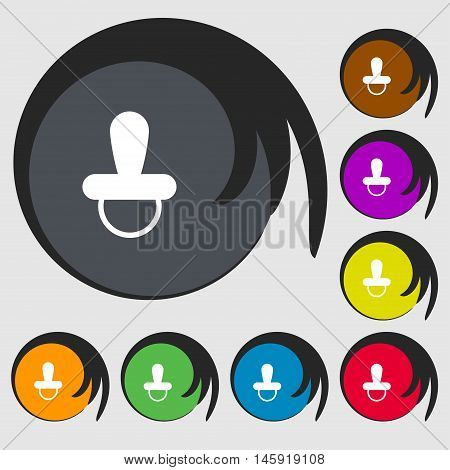 Baby Pacifier Icon Sign. Symbols On Eight Colored Buttons. Vector