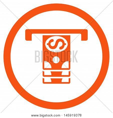 Banknotes Withdraw rounded icon. Vector illustration style is flat iconic symbol, orange color, white background.