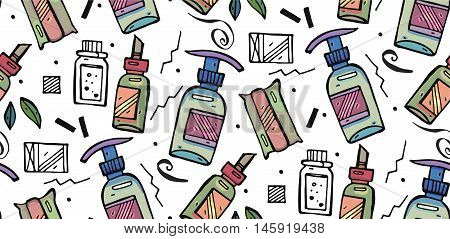 Hand drawn vector seamless pattern of natural herbal bath. Design for cosmetics make up store beauty salon natural and organic products. Vector illustration