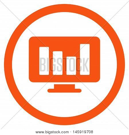 Bar Chart Monitoring rounded icon. Vector illustration style is flat iconic symbol, orange color, white background.
