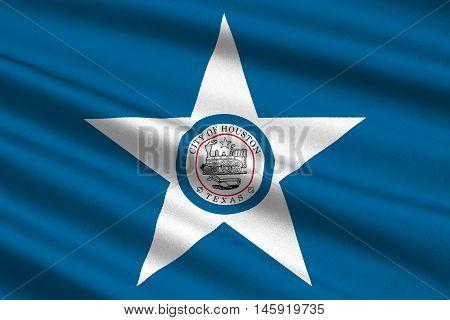 Flag of Houston city in Texas United States. 3D illustration