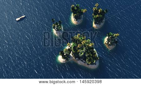 Animal pawn island and beach paradise on the sea for summer holidays. 3D Illustration