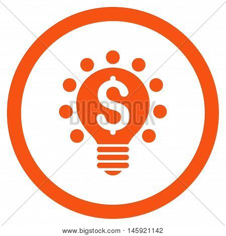 Business Patent Bulb rounded icon. Vector illustration style is flat iconic symbol, orange color, white background.