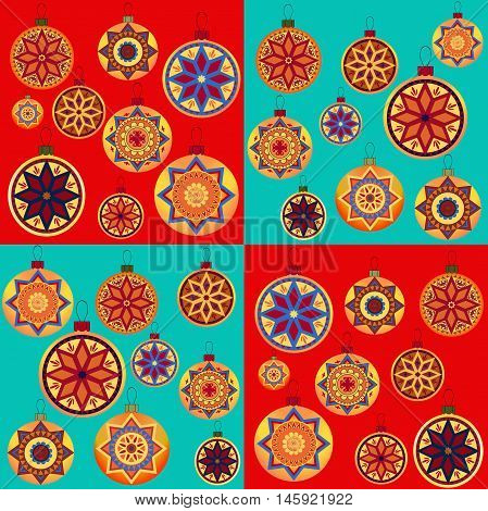 Vintage retro design New Year toys. Seamless pattern with Christmas balls. Perfect for packing paper, wrapping bags, greeting card and other Christmassy decoration. Vector Illustration.