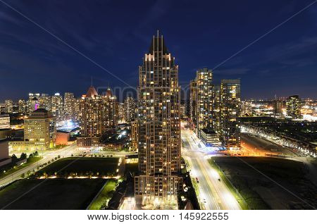 MISSISSAUGA CANADA JUNE 14 2016: View to the skyscrapers in the night.