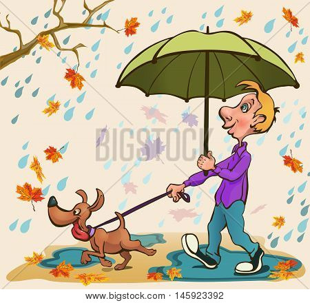 Young man walking with a dog in the park in the rain under green umbrella