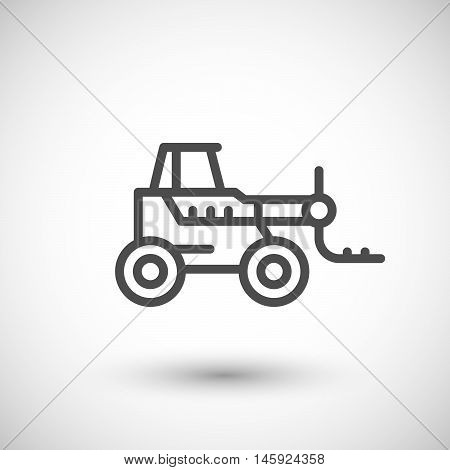 Forklift telescopic loader line icon isolated on grey. Vector illustration