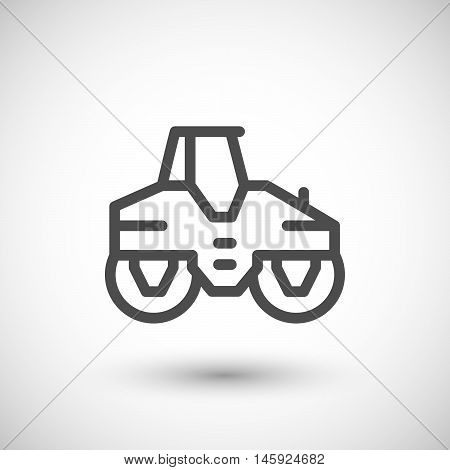 Road roller line icon isolated on grey. Vector illustration