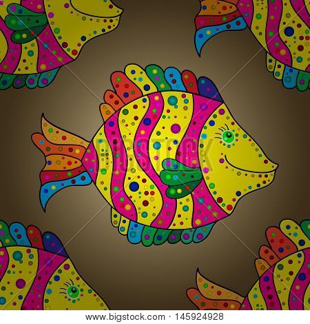 Brown round gradient abstract pattern with yellow doodles fishes. Vector.