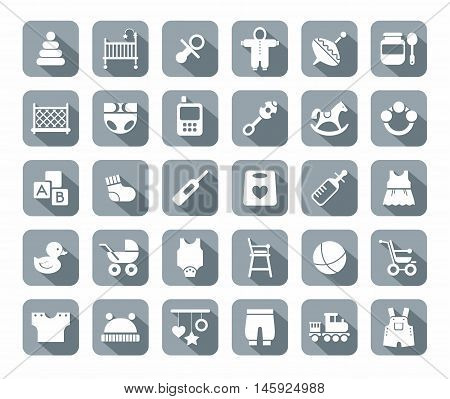 Products for children, gray, flat icons. Clothes, toys and personal items for newborns and young children. White icons on gray background with shadow.