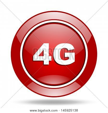 4g round glossy red web icon