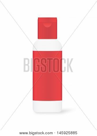 Vector White plastic bottle with red label and red cap isolated on white background. Ideal for mock up and other.