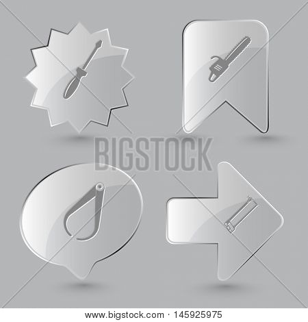 4 images: screwdriver, gasoline-powered saw, caliper, hacksaw. Industrial tools set. Glass buttons on gray background. Vector icons.