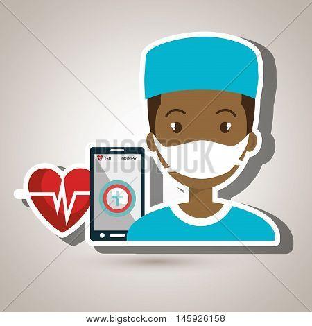 nurse smartphone cardio heart vector illustration graphic