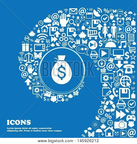 Money Bag Icon . Nice Set Of Beautiful Icons Twisted Spiral Into The Center Of One Large Icon. Vecto