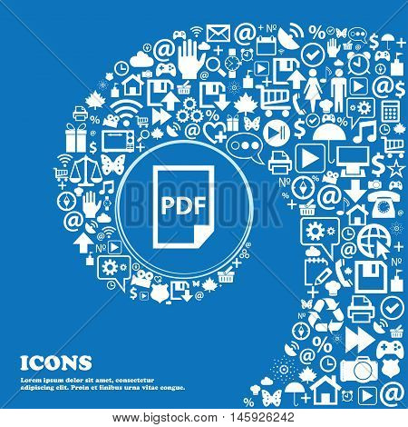 Pdf Icon. . Nice Set Of Beautiful Icons Twisted Spiral Into The Center Of One Large Icon. Vector