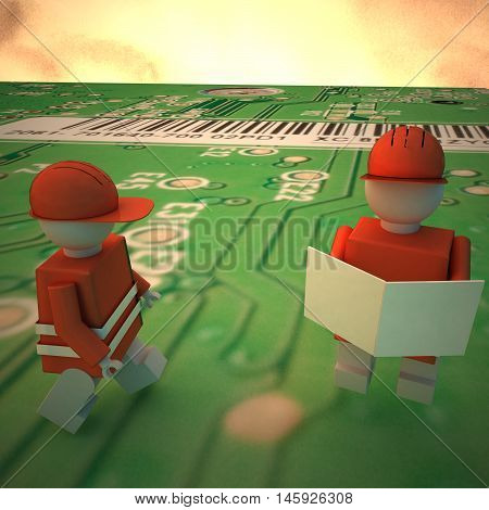 Worker Puppets On A Computer Motherboard