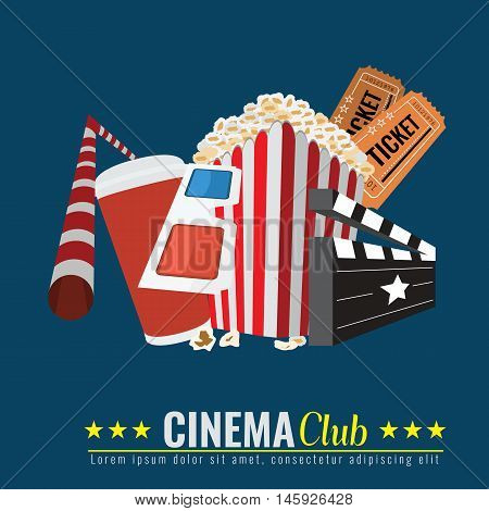 Cinema Poster. Popcorn bowl, disposable cup for drinks with straw, ticket, 3d glasses. Cinema attributes. Flat vector illustration.
