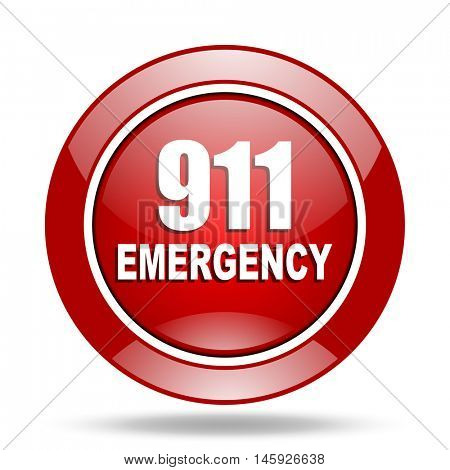 number emergency 911 round glossy red web icon